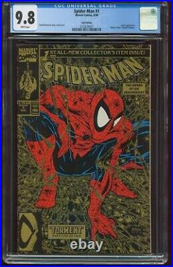 1990 Spider-Man 1 CGC 9.8 Green, Silver & Gold Covers Variants Set Lot G-316