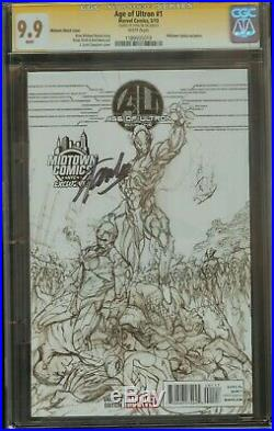 Age Of Ultron #1 CGC 9.9 Signed by Stan Lee Midtown Sketch Variant Cover MINT