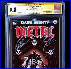 DARK NIGHTS METAL #1 CGC 9.8 SS 2x SIGNED Snyder Capullo Variant Cover E