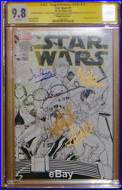 Star Wars #1 Sketch Variant cover CGC 9.8. Signed 5X Lee, Hamill Mayhew & Prowse