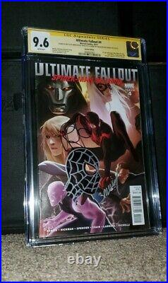 Ultimate Fallout #4 Var. Cgc Ss 9.6 Signed Bendis + Bagley Sketch 1st App Miles